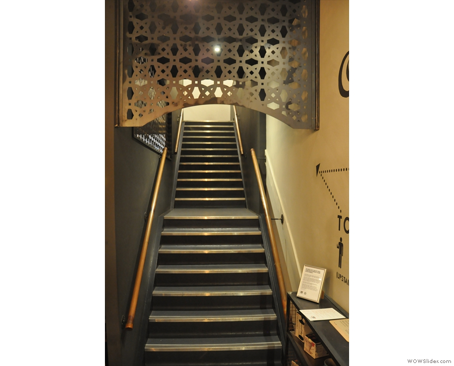 The stairs lead up to both the Barista School and toilets, but, sadly, no additional seating.