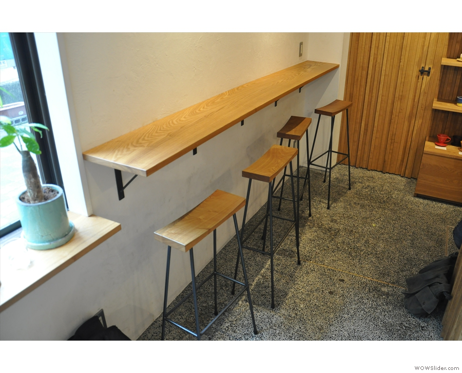 The bar is against the left-hand wall after the window. Check out the long, narrow stools.
