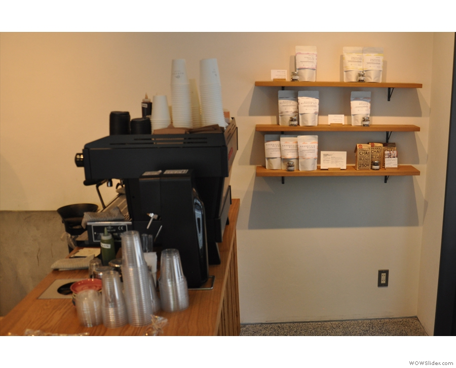 At the other end of the shop, at the front, you'll find the retail coffee selection.