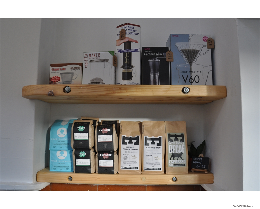 Talking of which, there's a small shelf with some coffee and coffee-making kit.