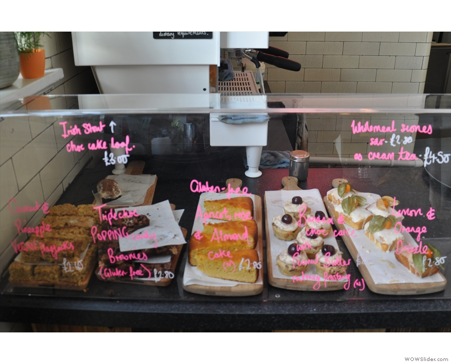 There's a selection of cakes, all baked in-house...