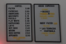 I then returned to check out the coffee menu in detail...