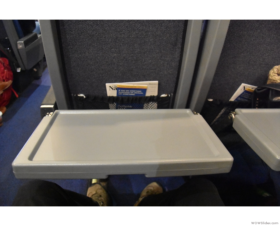 Down comes the tray table...