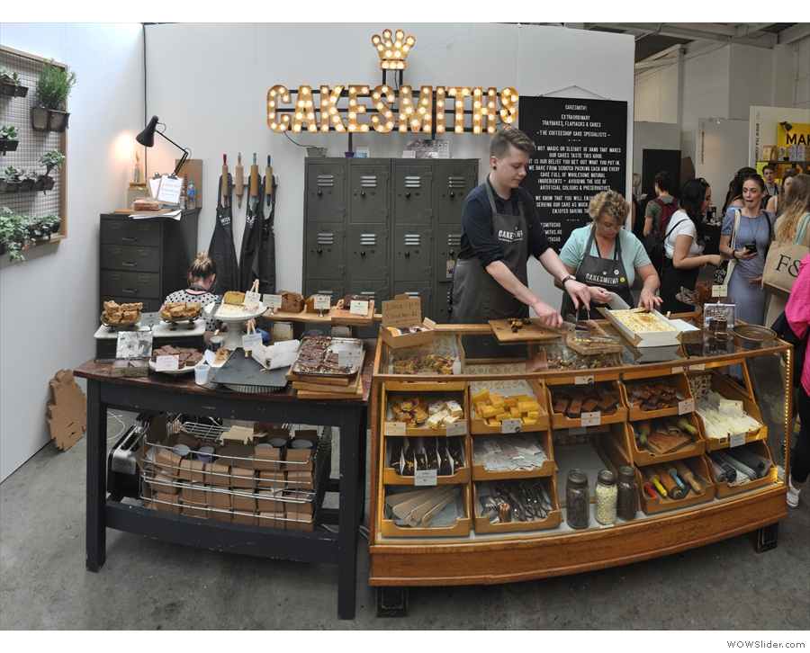 Upstairs is the main hall, the Hyde Park zone, where'll you find the likes of Cakesmiths.
