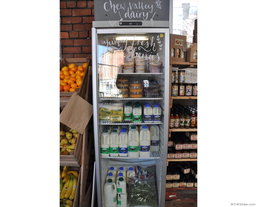 ... followed by a chiller cabinet full of local dairy produce...