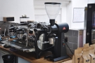 The mainstay of the coffee operation is this La Marzocco Strada espresso machine...