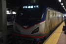 From New York to Washington DC it's hauled by a single, electric locomotive...