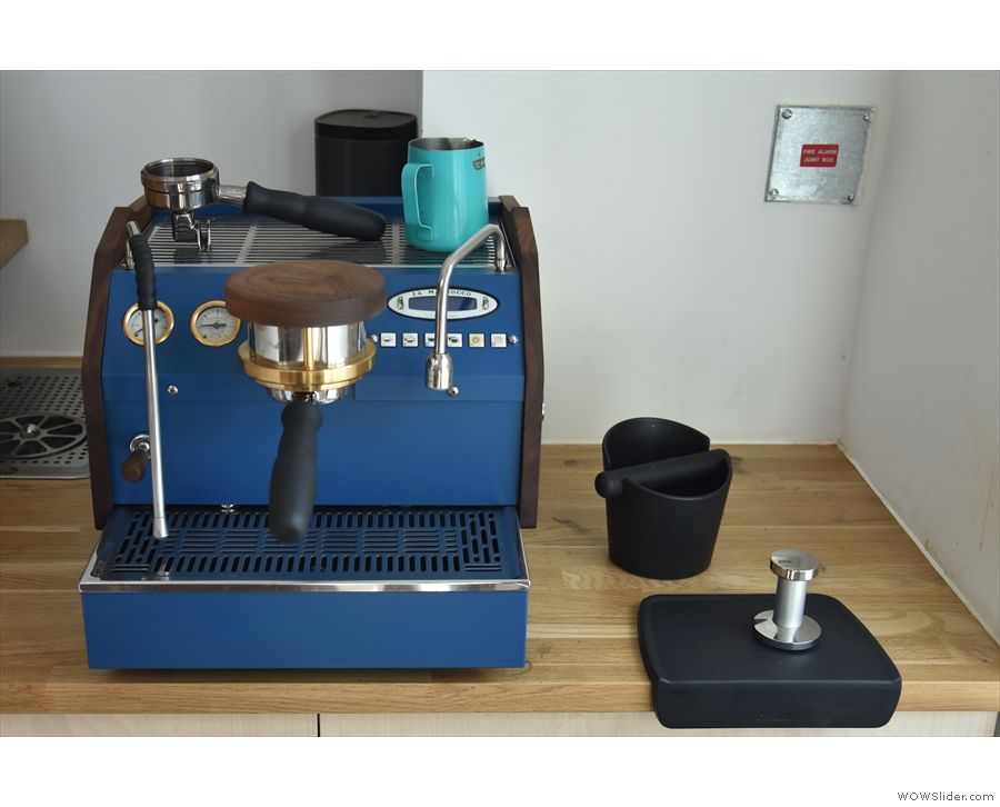 There's a La Marzocco mini espresso machine up here, which is used for latte art classes.