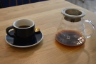 On my return last week, I had a pour-over, a single-origin Kenyan through the Aeropress.
