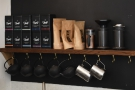 ... while the tea and the filter kit is on a shelf behind the espresso machine.