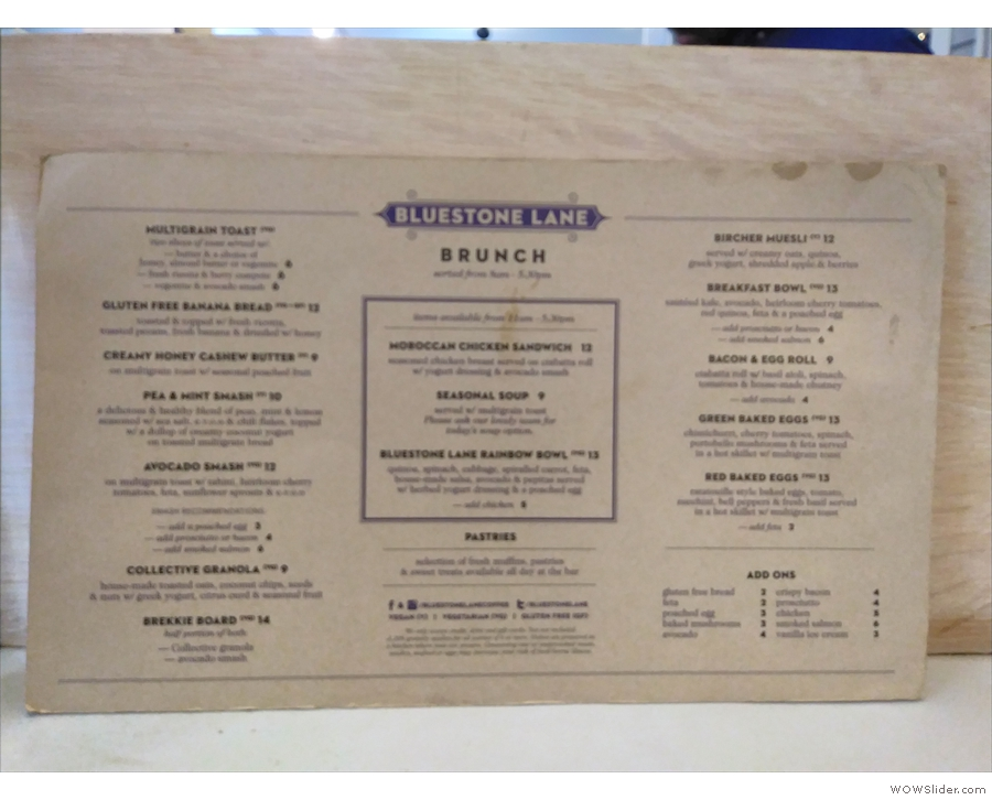 Fast forward two years and the menus are now printed up like this...