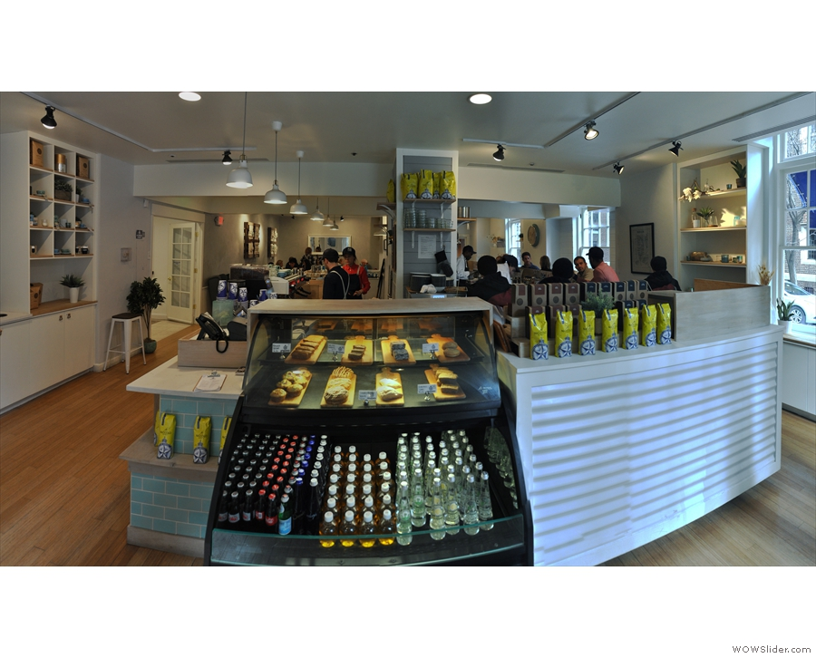 A panoramic view from the front. Tthe till is on the left-hand corner of the counter.