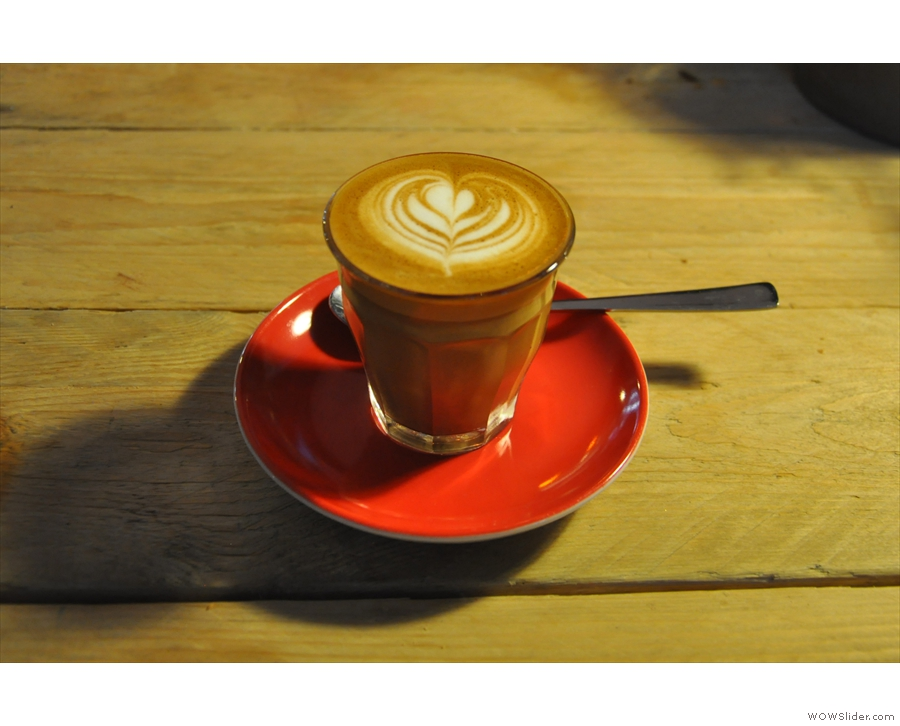 I'll leave you with my coffee, a piccolo in a glass, on a lovely red saucer.