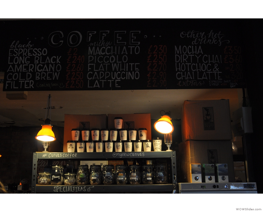 The menu is chalked up above the counter...