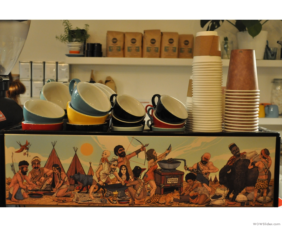 The interesting mural on the espresso machine is all part of the Hunter Gatherer branding.