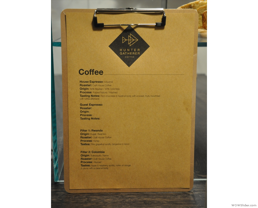 Meanwhile there's a clipboard with the coffee choices on the counter.