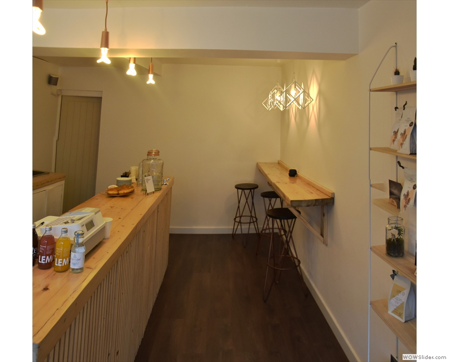 There's space to the right of the counter, where you can order and wait for takeaway.
