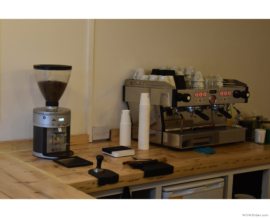 The grinder and espresso machine are on the far side, so you get a good view.