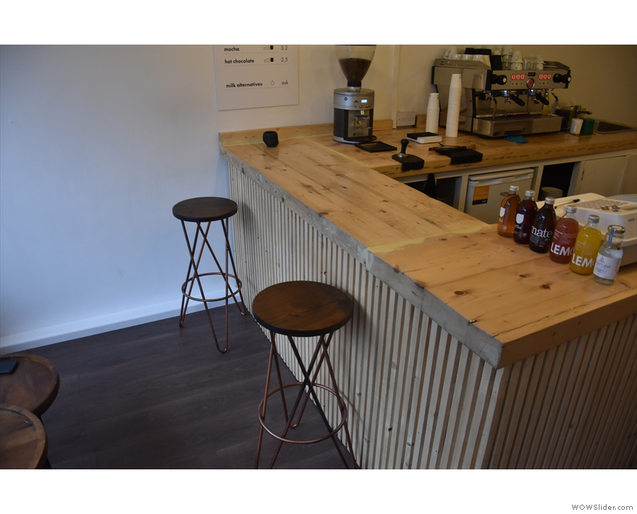 Alternatively, grab a stool at the front of the counter for great coffee-making views.