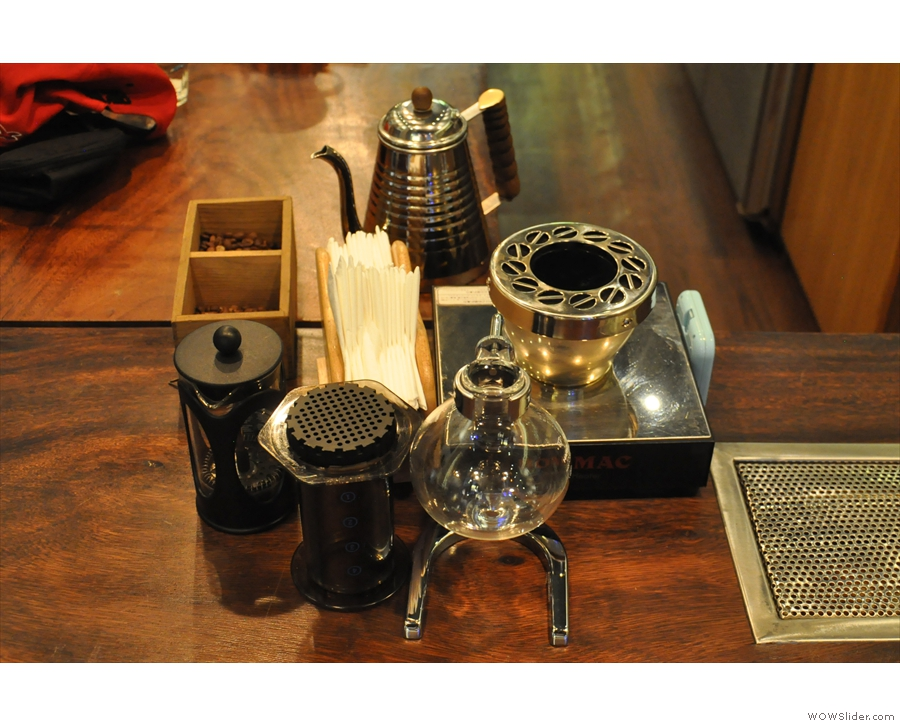 The syphon lives at the front of the couonter, along with an Aeropress & cafetiere.