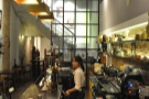 ... where you get an excellent view of the coffee-making going on behind the counter.