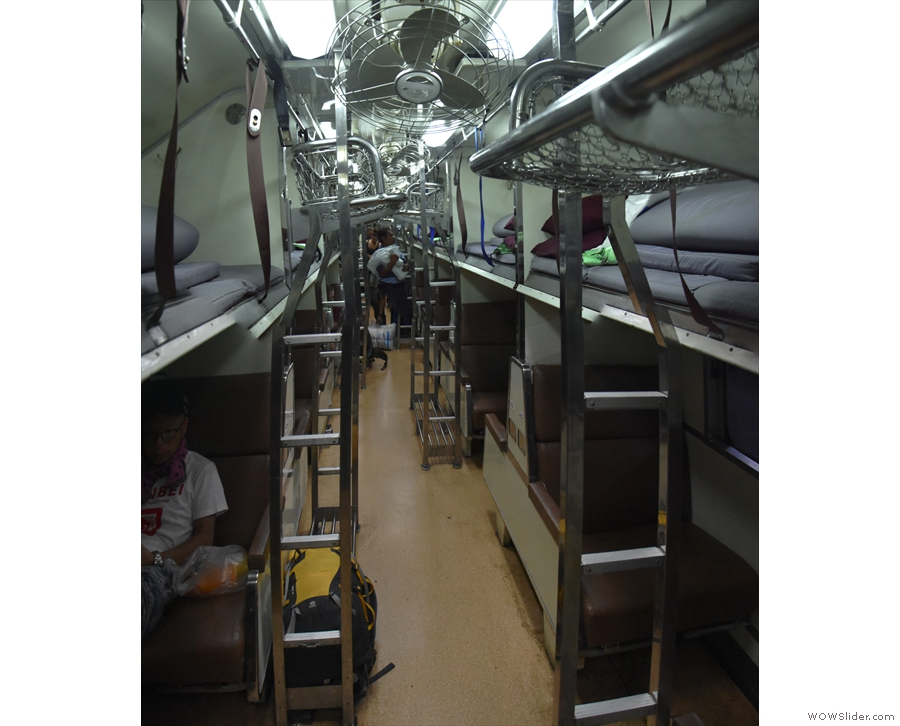 Unlike first class, second class has two rows of open bunks running down the carriage.