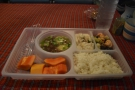 Dinner is served in these plastic trays. There were four choices on the menu for my trip.