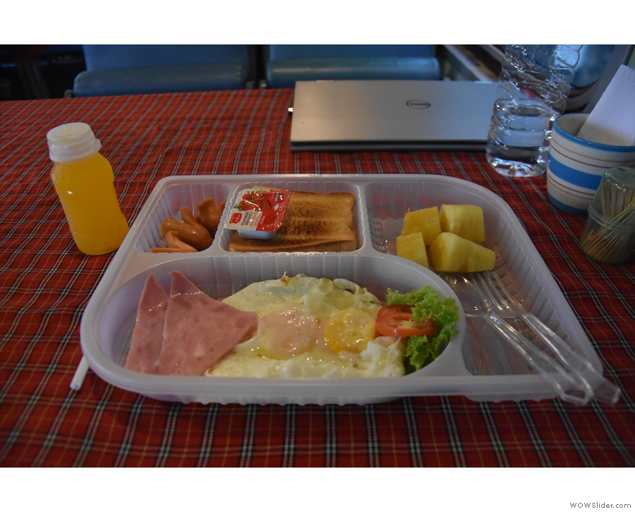 My breakfast, served, as the night before, in a plastic tray.