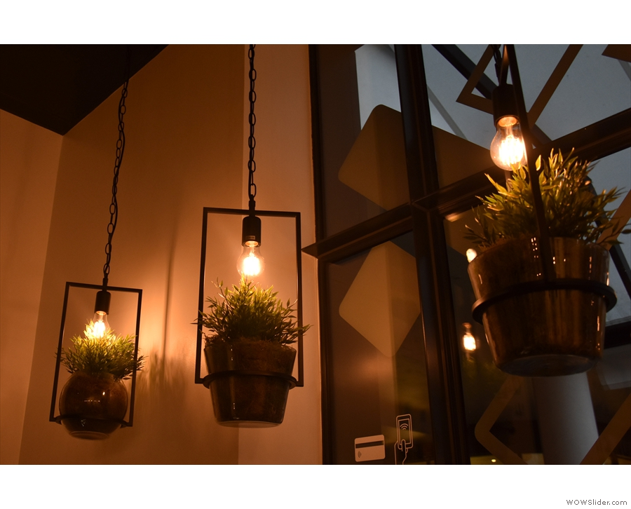 Neat features include each of the light-fittings doubling as a hanging-basket.