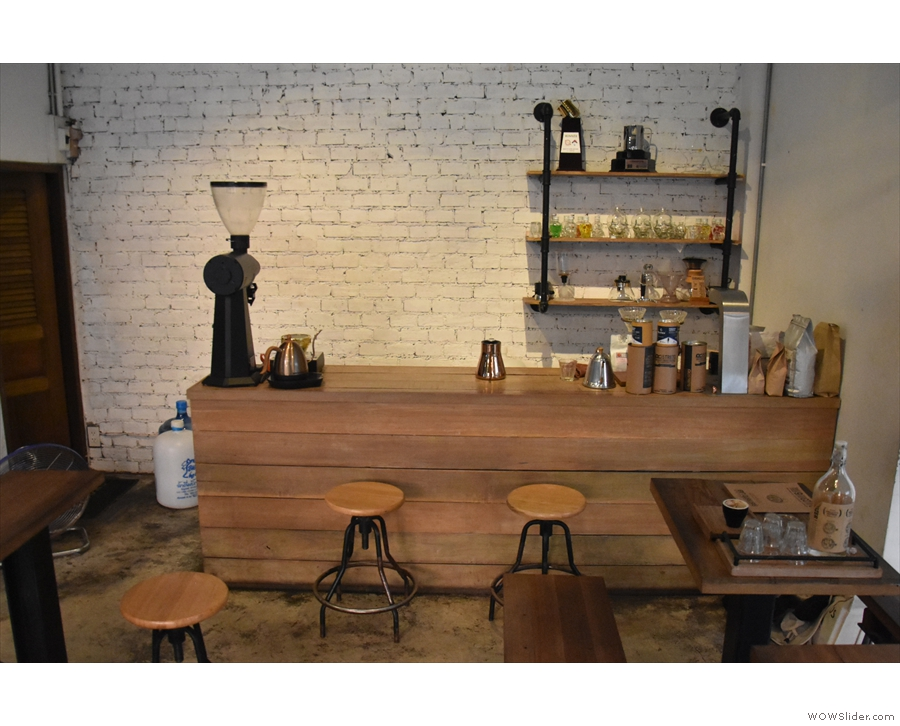 Finally, there's a brew bar at the back with a couple of bar-stools if you want to watch.