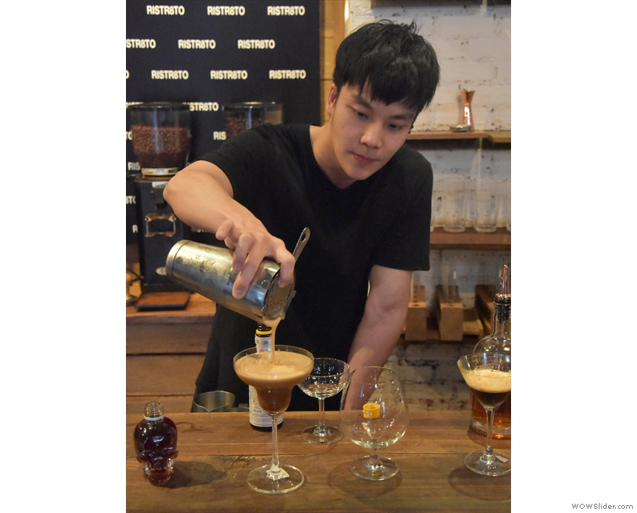 It's soon clear why: the head barista & World Latte Art Champion, is making cocktails!