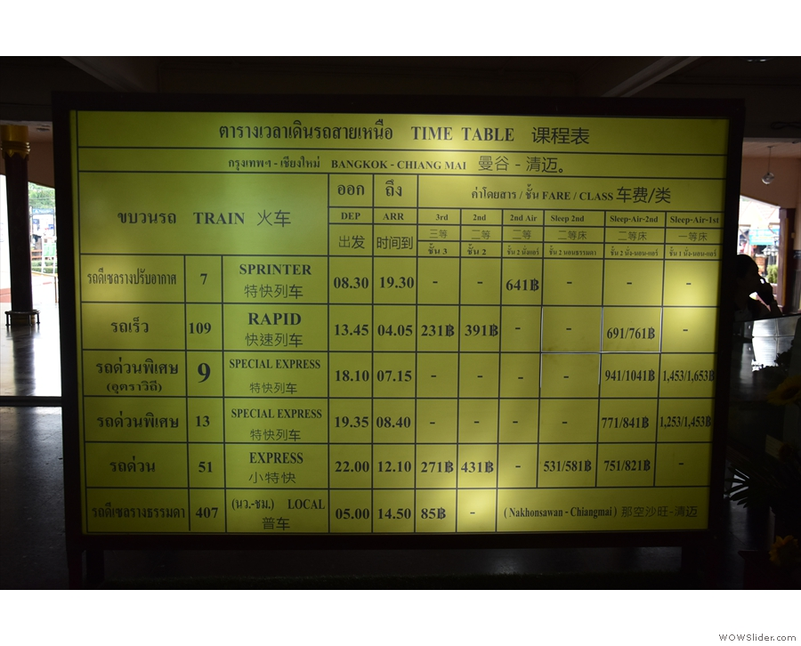 There's a handy timetable board showing the six daily arrivals from Bangkok...