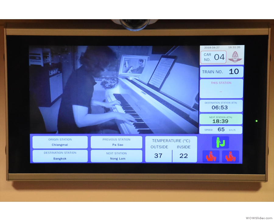 Another innovation is the information screen, with its handy video of a pianist...