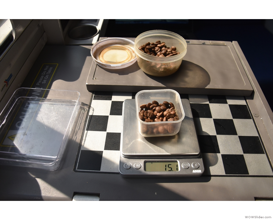 The long stops, such as the one in the passing loop, mean that I can weigh my beans...