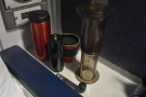 The shelf by my seat made a useful spot to keep my coffee kit.
