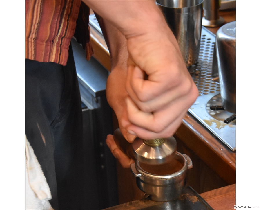 Once the dose has been weighed, the next step is to tamp.