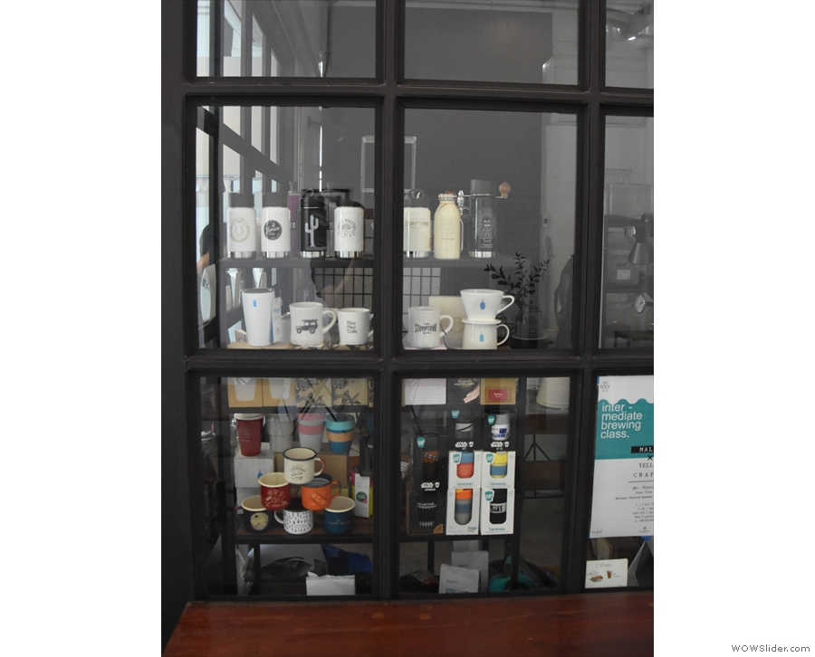 ... with the windows stocked with coffee mugs and drippers from around the world.