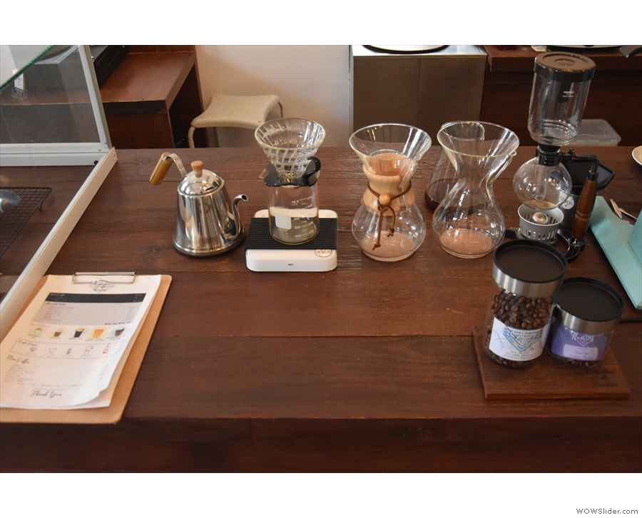 ... followed by the menu and the pour-over station...
