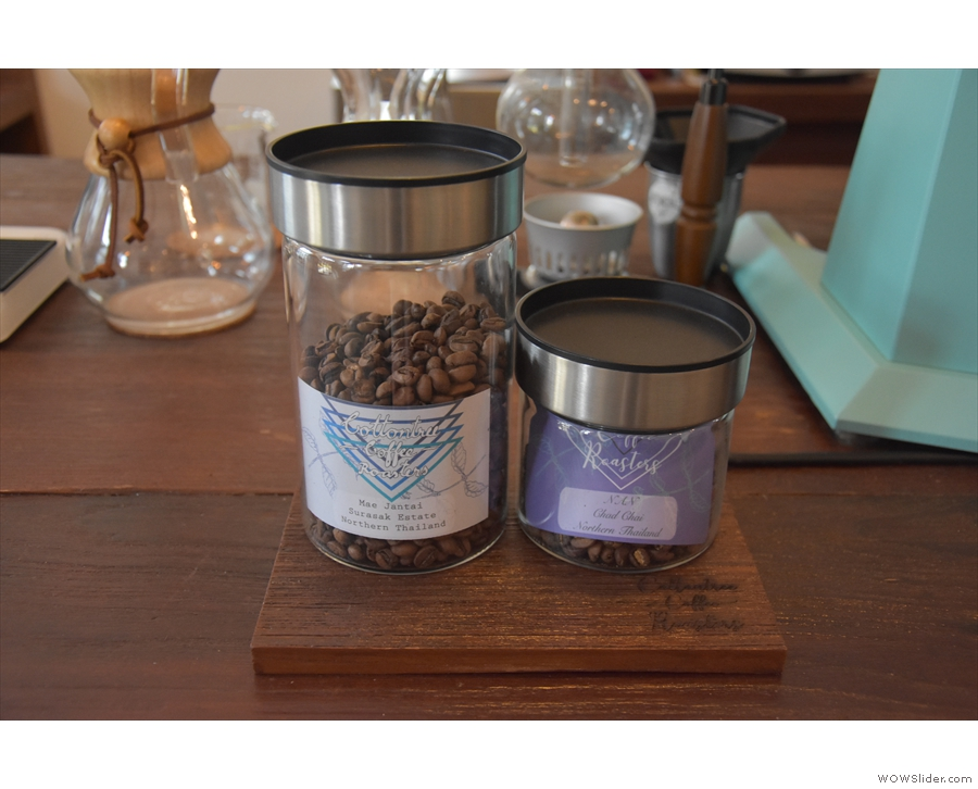 The beans on offer on pour-over are on display on the counter...
