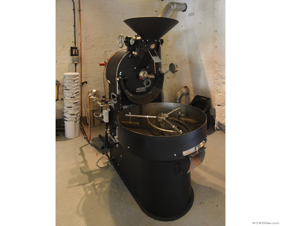 Talking of roasters, off to the left is The Good Coffee Cartel's main roaster, a 15kg Probat.