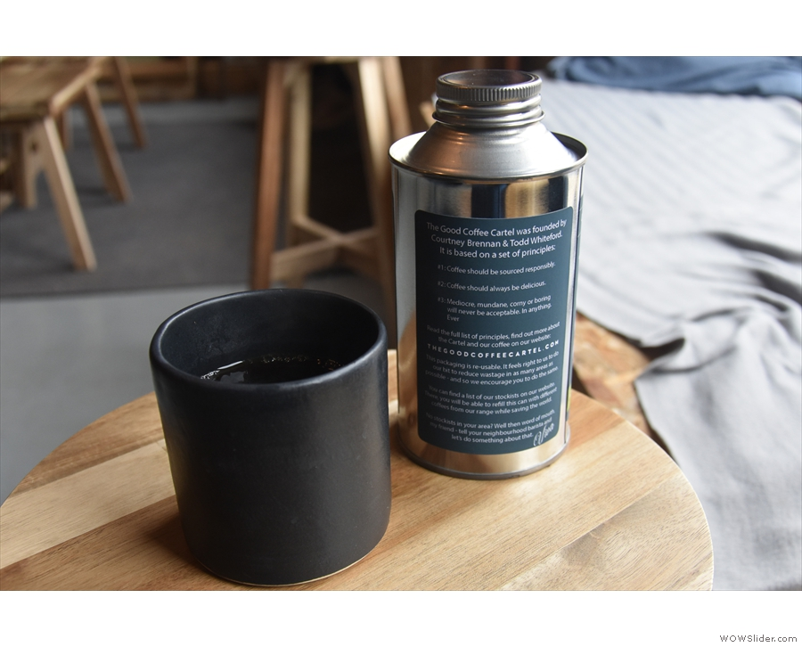 If you want to know more about The Good Coffee Cartel, read the tin (or the website!).