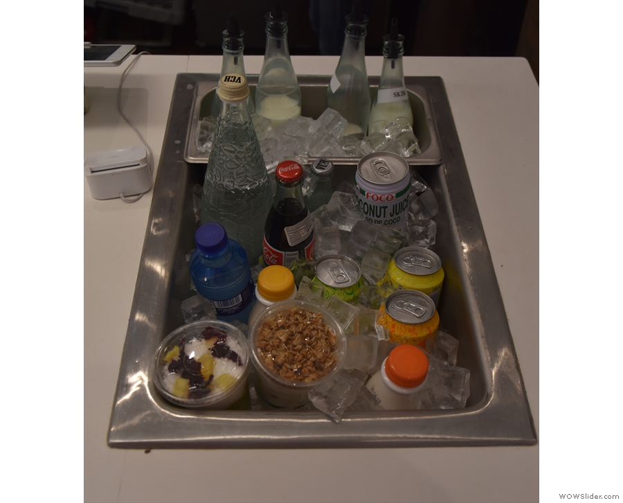 There's a sink with plenty of cold drinks on offer, plus yoghurt and granola...