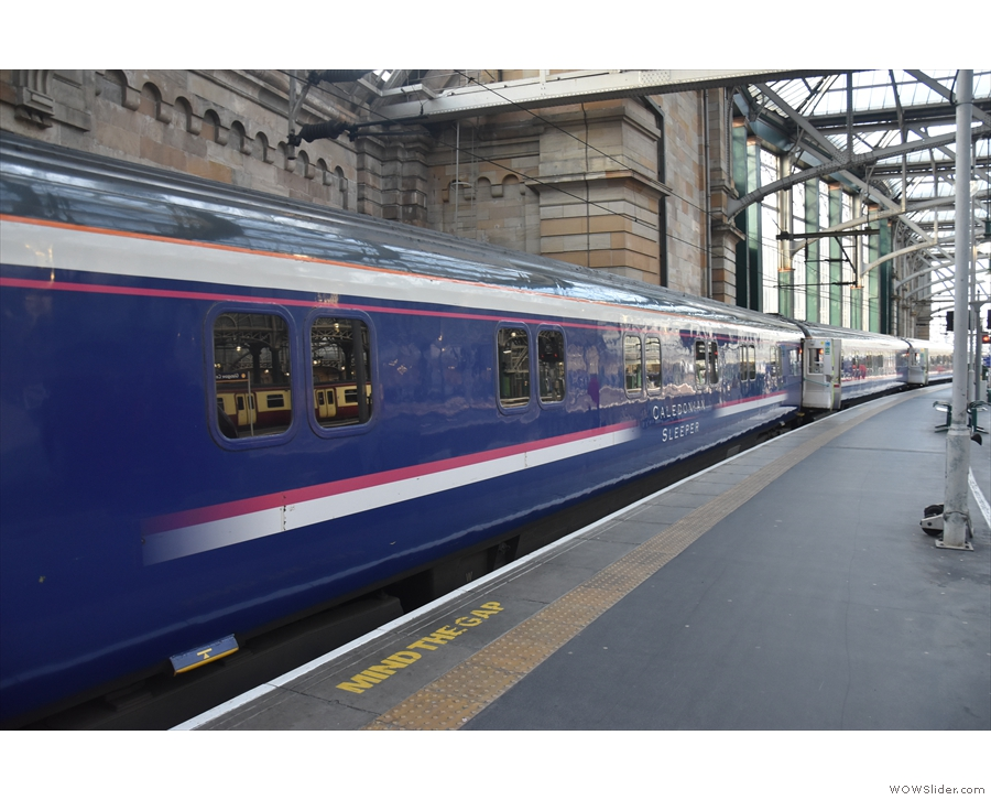 Next stop (for me), Glasgow Central Station, where our much-reduced train is also...