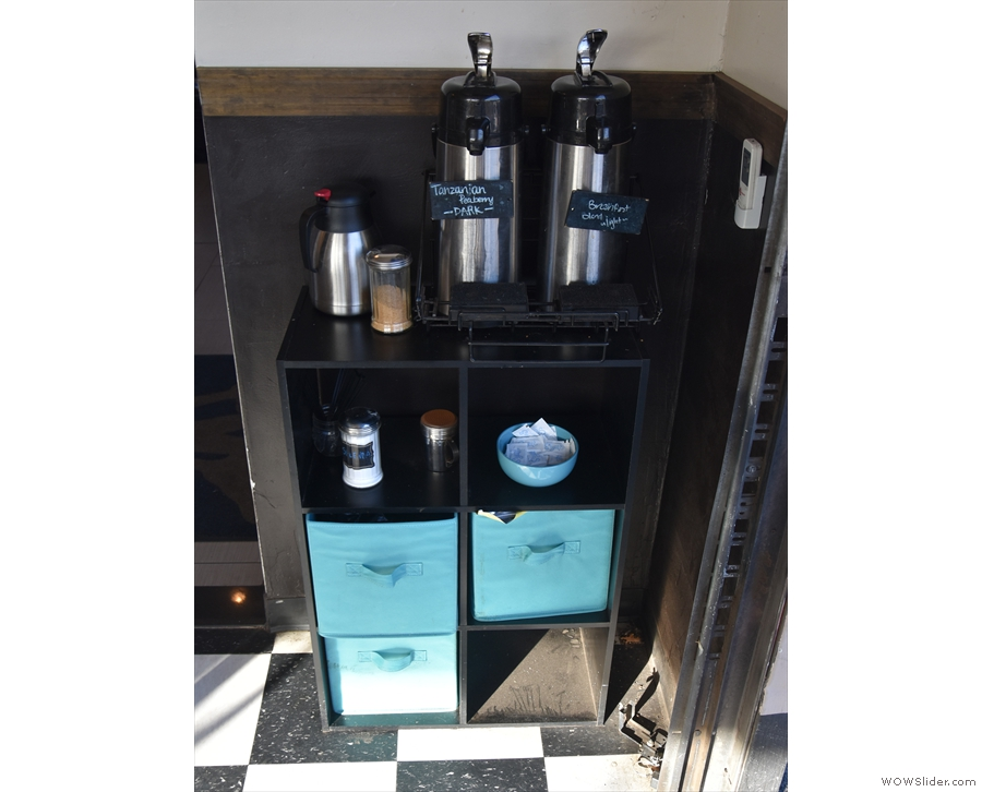 Bulk-brew filter is also help yourself, the flasks out by the roll-up doors of the roastery.