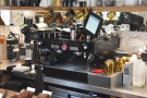 The espresso machine dispenses shot of Ozone's Empire Blend...