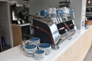 The heart of the coffee operation is the Faema F71 espresso machine...
