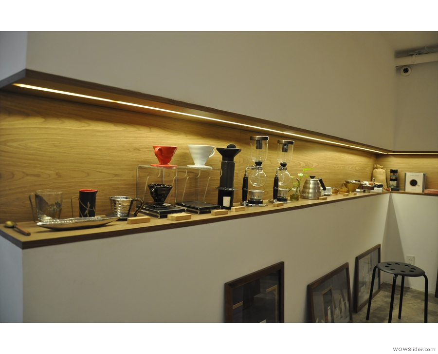 Meanwhile, the front wall is the preserve of the coffee-making equipment...