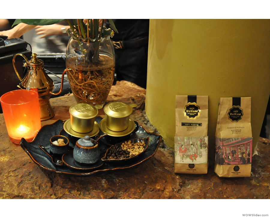 More beautiful displays, this time of traditional Vietnamese coffee.