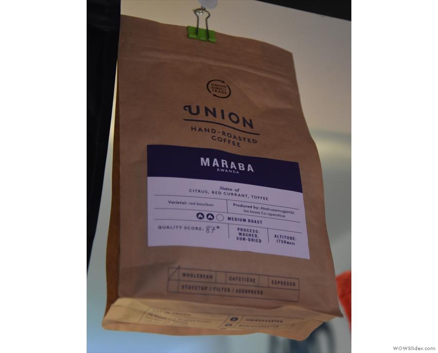 The Maraba single-origin from Rwanda, roasted by Union, is the house-espresso...