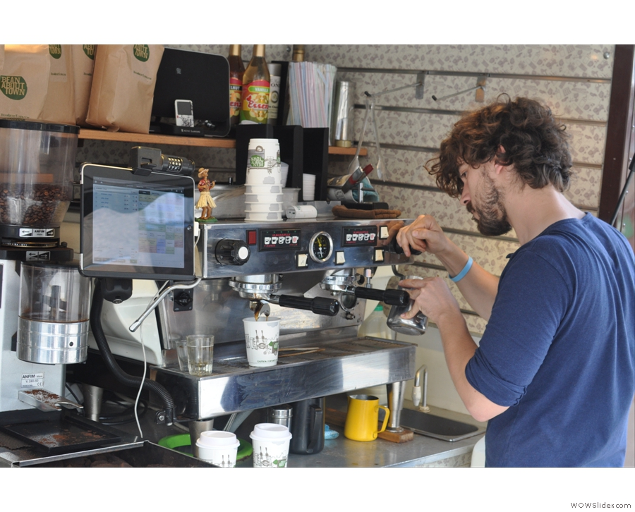 It not all espresso though. Here Rory steams some milk for a latte...